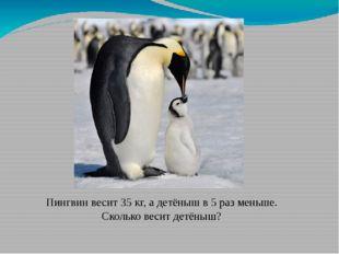 Пингвин весит 35 кг, а детёныш в 5 раз меньше. Сколько весит детёныш?