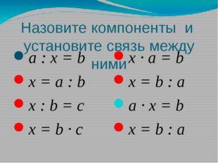 Назовите компоненты и установите связь между ними a : x = b x = a : b x : b =
