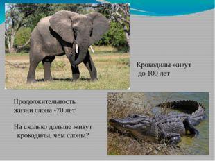 Продолжительность жизни слона -70 лет Крокодилы живут до 100 лет На сколько д