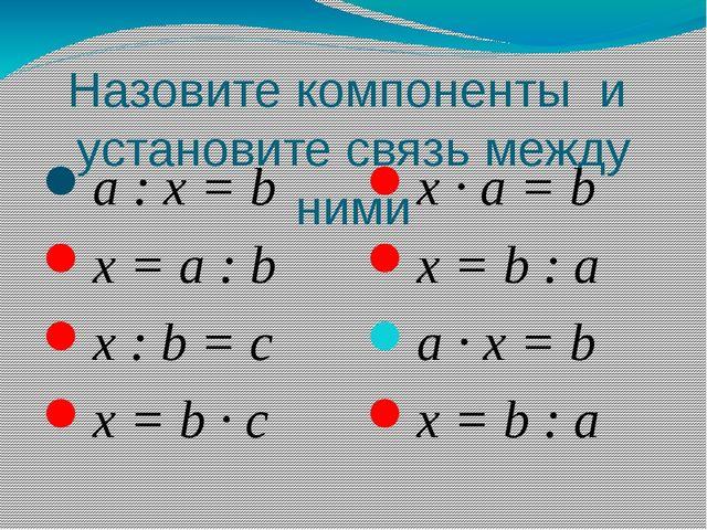 Назовите компоненты и установите связь между ними a : x = b x = a : b x : b =...