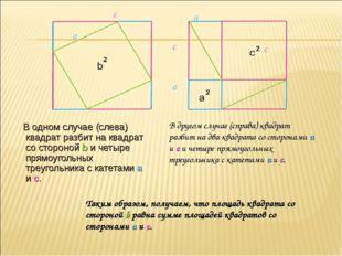 В одном случае (слева) квадрат разбит на квадрат со стороной b и четыре прям
