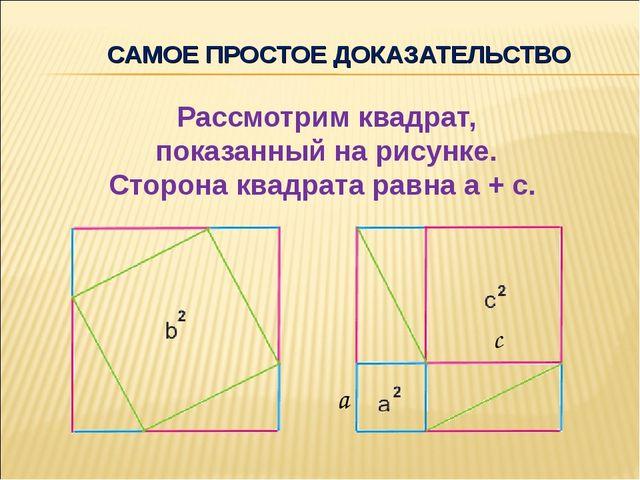 САМОЕ ПРОСТОЕ ДОКАЗАТЕЛЬСТВО Рассмотрим квадрат, показанный на рисунке. Сторо...