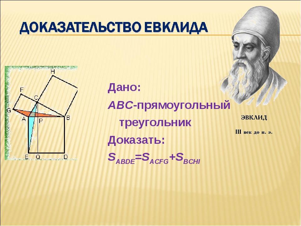 Дано: ABC-прямоугольный треугольник Доказать: SABDE=SACFG+SBCHI