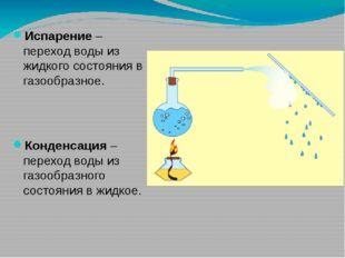 Испарение – переход воды из жидкого состояния в газообразное. Конденсация – п