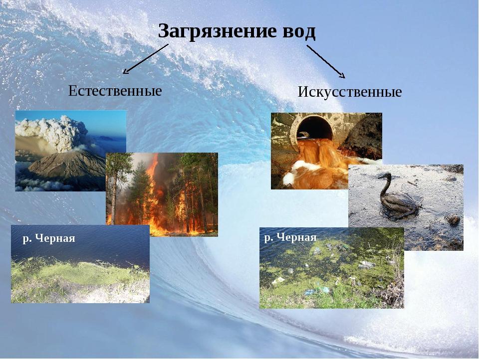 Загрязнение вод Естественные Искусственные р. Черная р. Черная