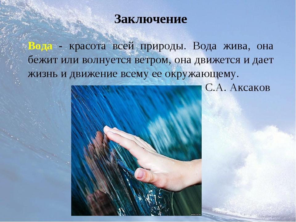 Заключение Вода - красота всей природы. Вода жива, она бежит или волнуется ве...