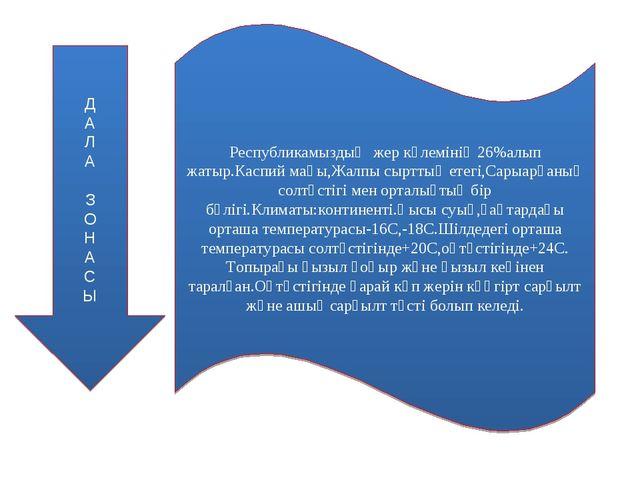 Д А Л А З О Н А С Ы Республикамыздың жер көлемінің 26%алып жатыр.Каспий маңы,...