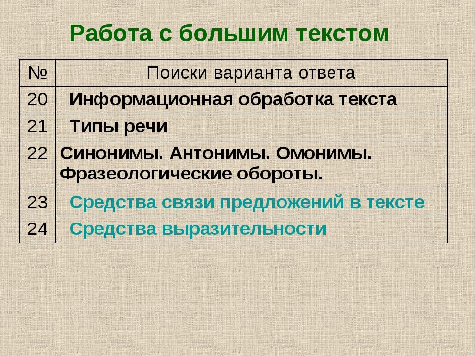 Работа с большим текстом №Поиски варианта ответа 20Информационная обработка...