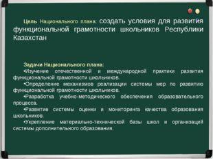 Цель Национального плана: создать условия для развития функциональной грамотн