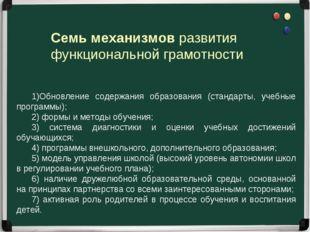 Семь механизмов развития функциональной грамотности 1)Обновление содержания
