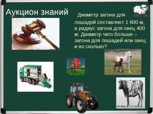 Диаметр загона для лошадей составляет 1 600 м, а радиус загона для овец 400