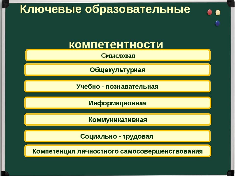 Социально - трудовая Смысловая Коммуникативная Информационная Общекультурная...
