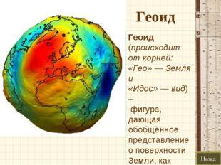 Геоид Назад Геоид (происходит от корней: «Гео»— Земля и «Идос»—вид) – фиг