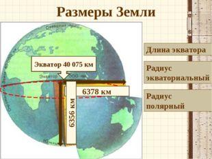 Размеры Земли Длина экватора Радиус экваториальный Радиус полярный Экватор 40