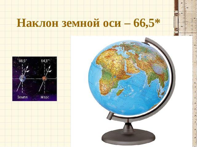 Наклон земной оси – 66,5*