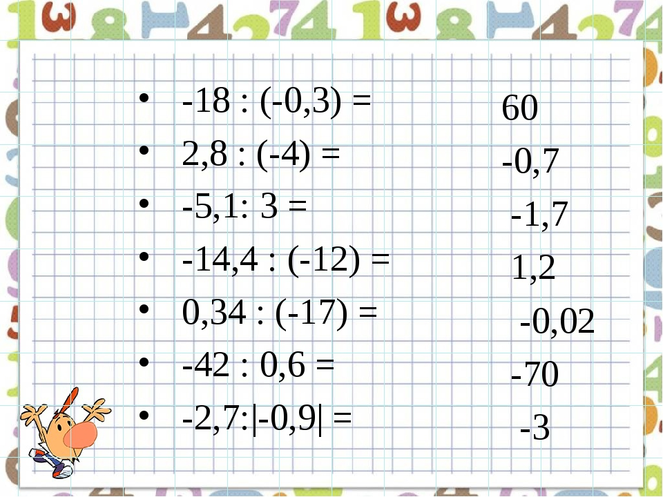 -18 : (-0,3) = 2,8 : (-4) = -5,1: 3 = -14,4 : (-12) = 0,34 : (-17) = -42 : 0,...