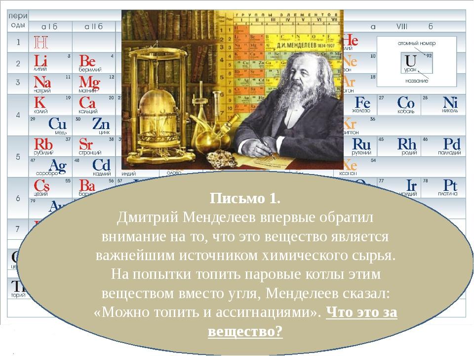 Письмо 1. Дмитрий Менделеев впервые обратил внимание на то, что это вещество...