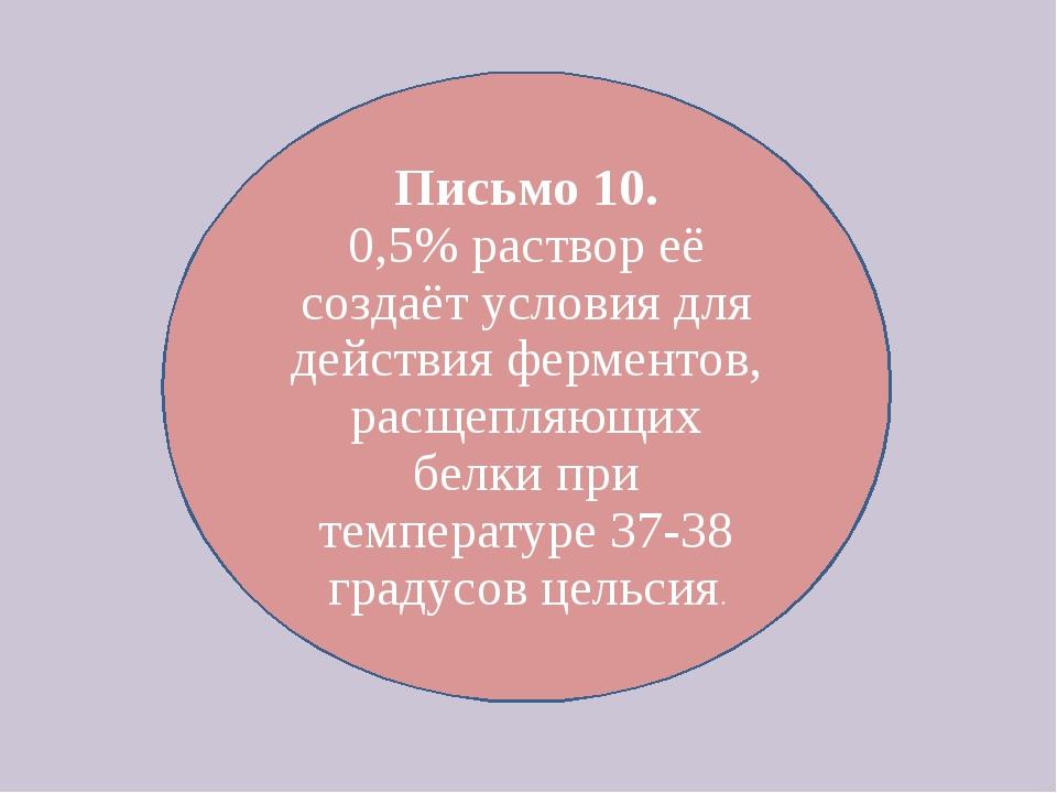 Письмо 10. 0,5% раствор её создаёт условия для действия ферментов, расщепляющ...