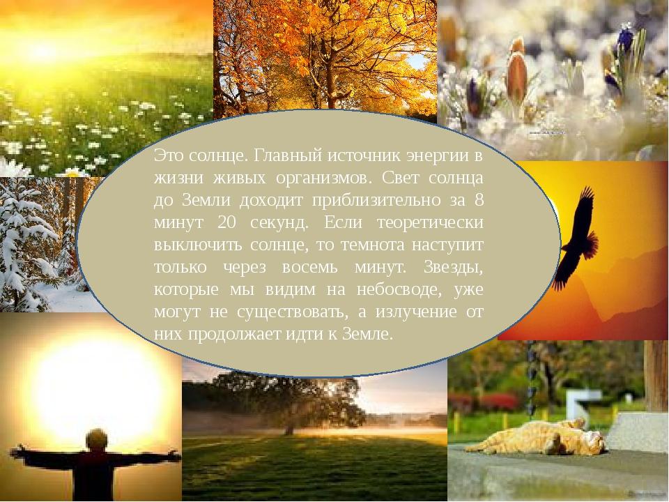 Это солнце. Главный источник энергии в жизни живых организмов. Свет солнца до...