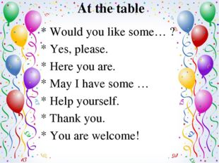 At the table * Would you like some… ? * Yes, please. * Here you are. * May I