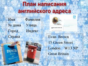 Имя Фамилия № дома Улица Город Индекс Страна Evan Brown 15 Green Street Londo
