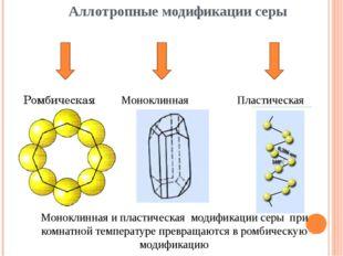 Аллотропные модификации серы Ромбическая Моноклинная Пластическая Моноклинная