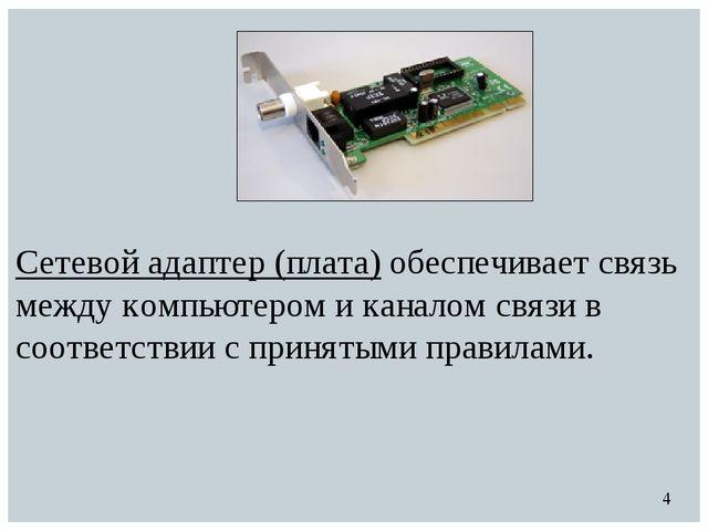Сетевой адаптер (плата) обеспечивает связь между компьютером и каналом связи...