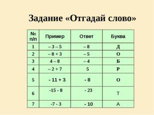 Задание «Отгадай слово» № п/п Пример Ответ Буква 1 – 3 – 5 – 8 Д 2 – 8 + 3 –