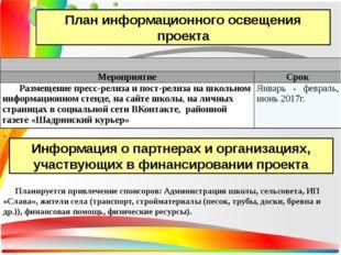 . План информационного освещения проекта Информация о партнерах и организаци
