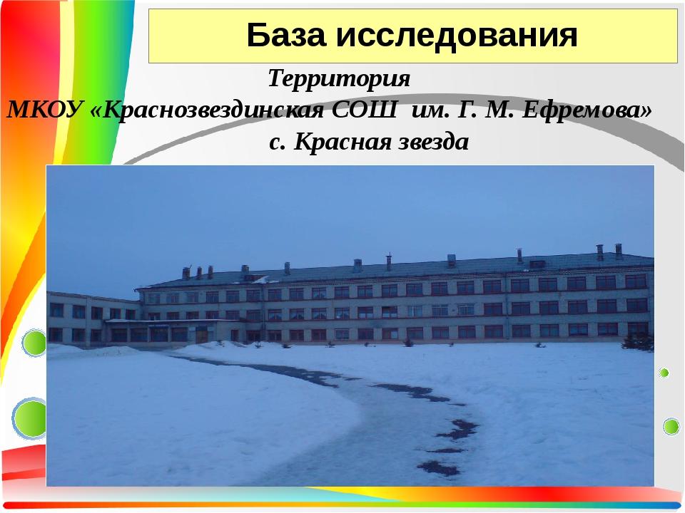 База исследования Территория МКОУ «Краснозвездинская СОШ им. Г. М. Ефремова»...