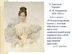К. Брюллов. Портрет Н. Н. Пушкиной. 1831-1832 г. Бумага, акварель. «В белом в