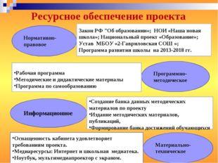 """Ресурсное обеспечение проекта Нормативно-правовое Закон РФ """"Об образовании«;"""