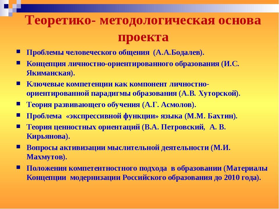 Теоретико- методологическая основа проекта Проблемы человеческого общения (А....