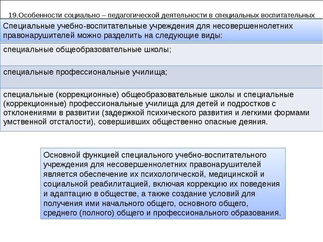 19.Особенности социально – педагогической деятельности в специальных воспита...