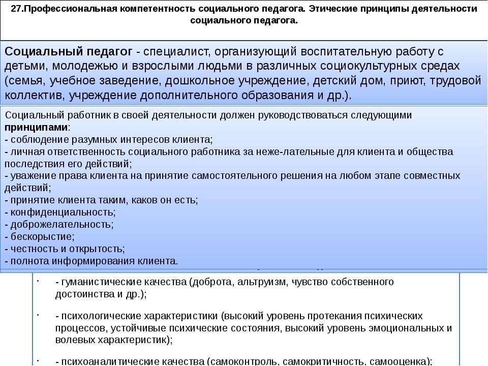 27.Профессиональная компетентность социального педагога. Этические принципы д...