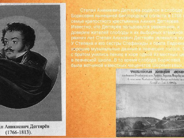 Степан Аникиевич Дегтярёв родился в слободе Борисовке нынешней Белгородской...