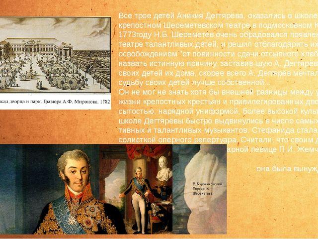 Все трое детей Аникия Дегтярёва, оказались в школе при крепостном Шереметевс...