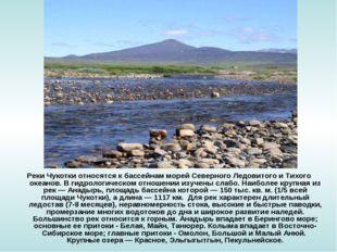 Реки Чукотки относятся к бассейнам морей Северного Ледовитого и Тихого океано