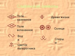 Славянские символы Поле вспаханное Поле засеянное Вода Древо жизни Солнце Спо