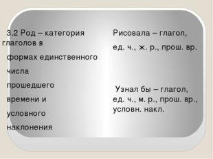 3.2 Род – категория глаголов в формах единственного числа прошедшего времени