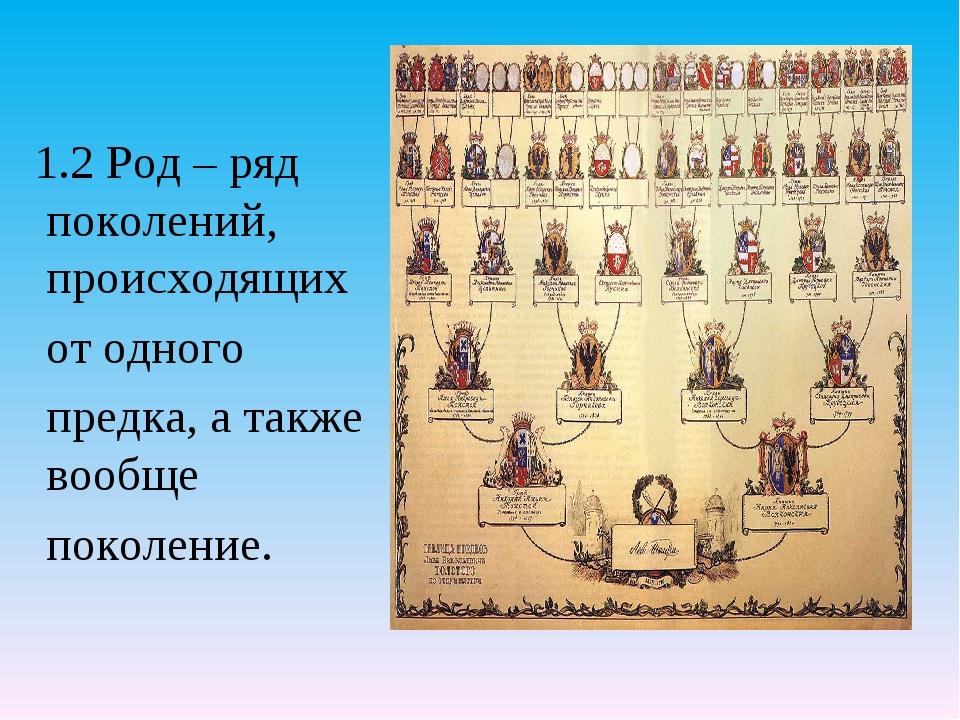1.2 Род – ряд поколений, происходящих от одного предка, а также вообще покол...
