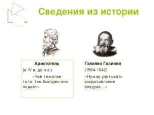Сведения из истории Аристотель (в IV в. до н.э.) «Чем тяжелее тело, тем быстр