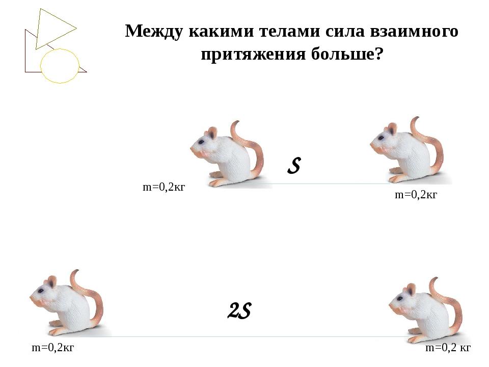 Между какими телами сила взаимного притяжения больше? m=0,2кг m=0,2кг m=0,2кг...