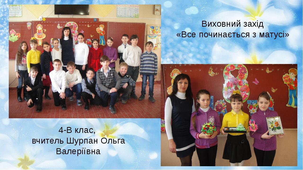 Виховний захід «Все починається з матусі» 4-В клас, вчитель Шурпан Ольга Вале...