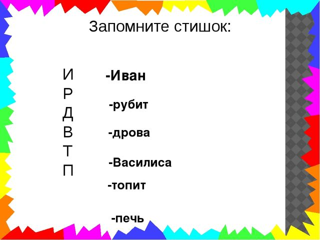 Запомните стишок: И Р Д В Т П -Иван -рубит -дрова -Василиса -топит -печь
