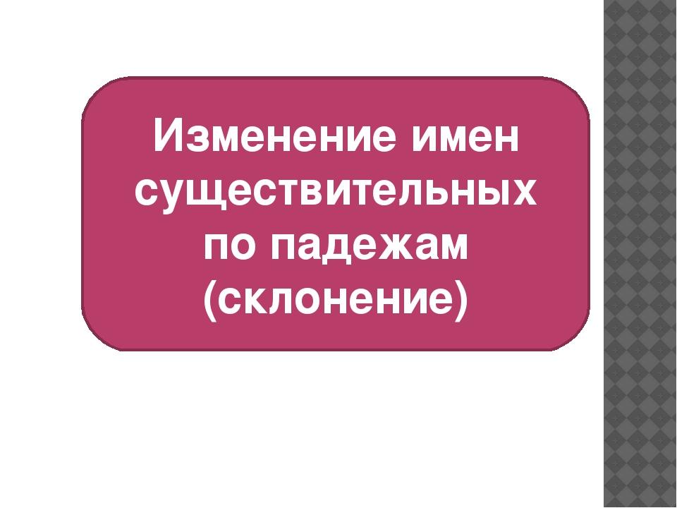 Изменение имен существительных по падежам (склонение)
