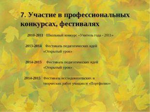 7. Участие в профессиональных конкурсах, фестивалях  2010-2011 Школьный ко
