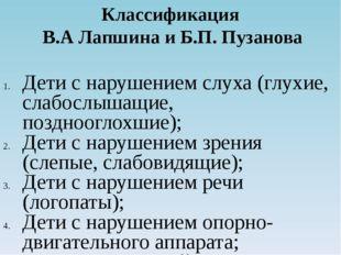 Классификация В.А Лапшина и Б.П. Пузанова Дети с нарушением слуха (глухие, сл