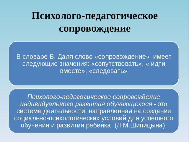 Психолого-педагогическое сопровождение В словаре В. Даля слово «сопровождение...