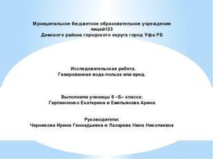 Муниципальное бюджетное образовательное учреждение лицей123 Демского района г